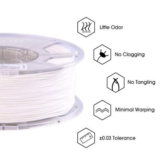 1.75mm white PLA+ filament